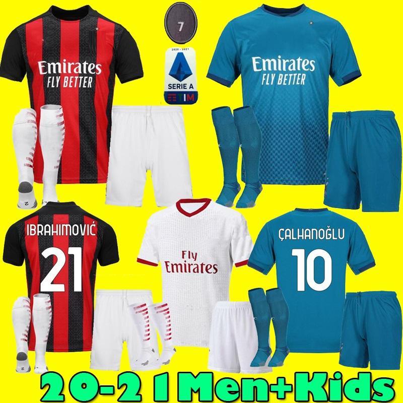 Men kids kit 20 21 IBRAHIMOVIC AC soccer jerseys 2020 2021 PIATEK Home third football shirt PAQUETA THEO uniforms Milan maillot de foot