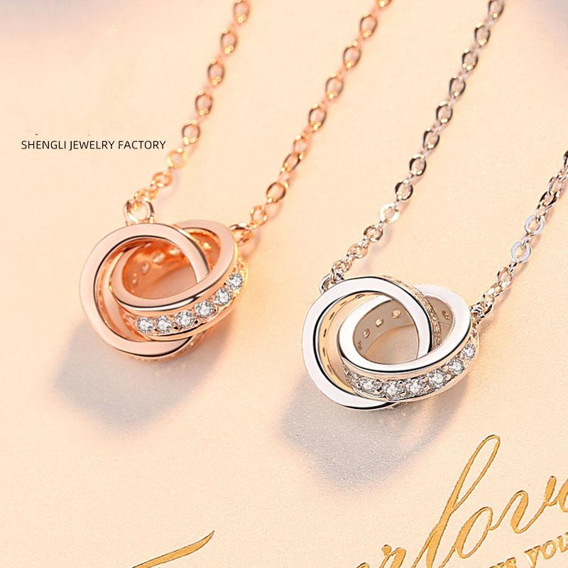 925 collier en argent de la mode féminine version coréenne de rose bague en or collier de verrouillage à double chaîne courte clavicule sertie de diamants bague