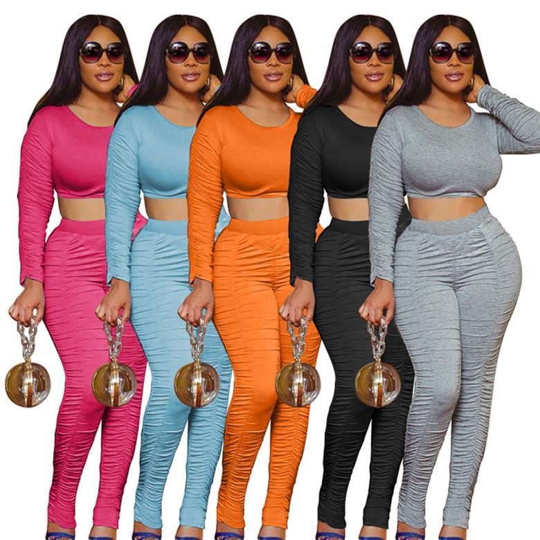 İki parçalı set eşofman gömlek pantolon kıyafetler uzun kollu spor gömlek pantolon eşofman kazak tayt spor sıcak klw5003 womens