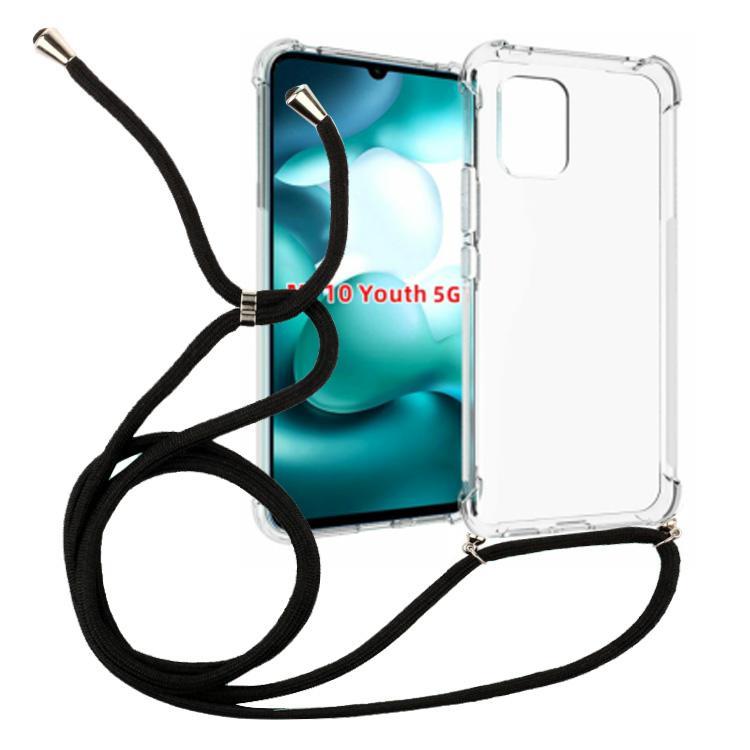 Espesar 1.5mm collar de la cuerda de seguridad a prueba de golpes transparente TPU crossbody para el teléfono celular 4G redmi 10X cubierta cuerda 160mm
