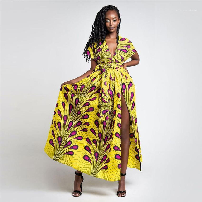 Taille Frauen-Kleider Feder Afrikanische Frauen Kleider Sommer V-Ausschnitt Split Sexy Damen Kleider beiläufige bunte Hoch