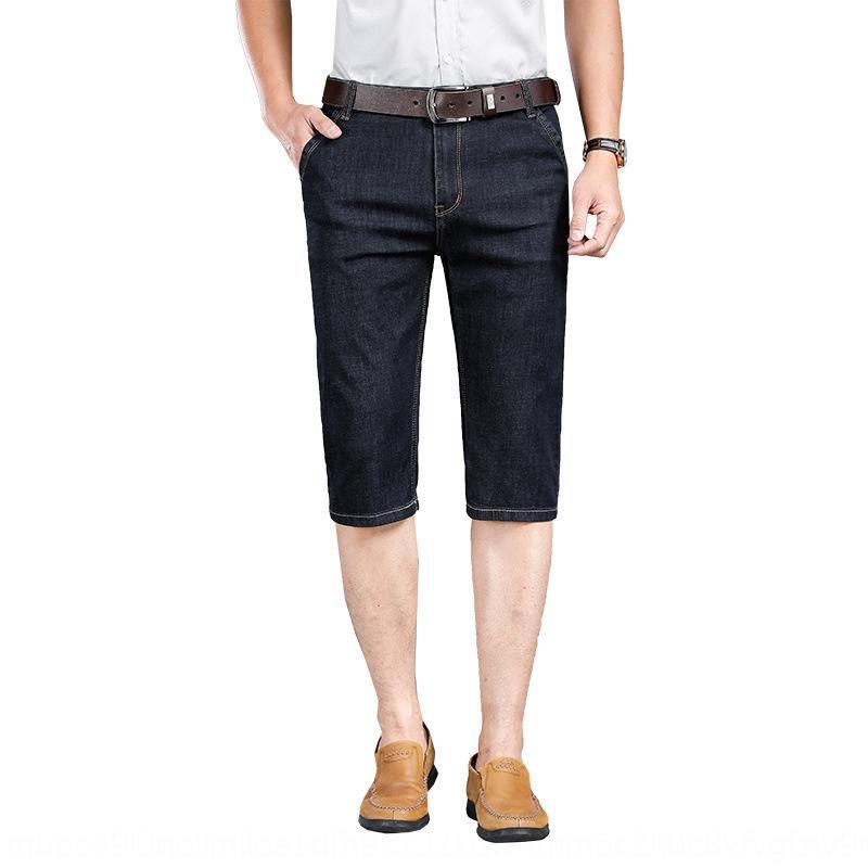 Mince et un pantalon de printemps été lumière affaires droites hommes occasionnels de la mode et des jeans des jeans respirant pantalons Capri haut de taille QjROu hommes