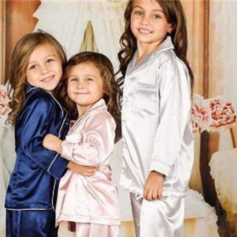 Pijama Çocuklar Pamuk Ipek Set Çocuk Ev Giymek Çocuk Giyim Iki Parçalı Moda Düz Renk