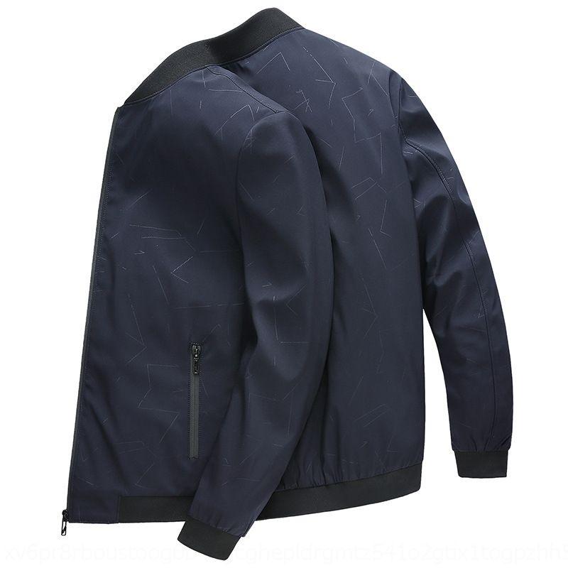 pAw6m tYjaJ 2020 im mittleren Alter Jacke älteren stehen Herbst und Frühling Jackenkragen neue beiläufige Polyester Mantel Gentleman winddicht Reißverschluss Mantel