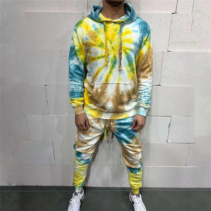 Хип-хоп костюмы мужские Tie Dye Свободный пуловер с длинным рукавом Толстовки и Sweatpants Осень Мужчины Designer 2 шт наборы спортивной одежды