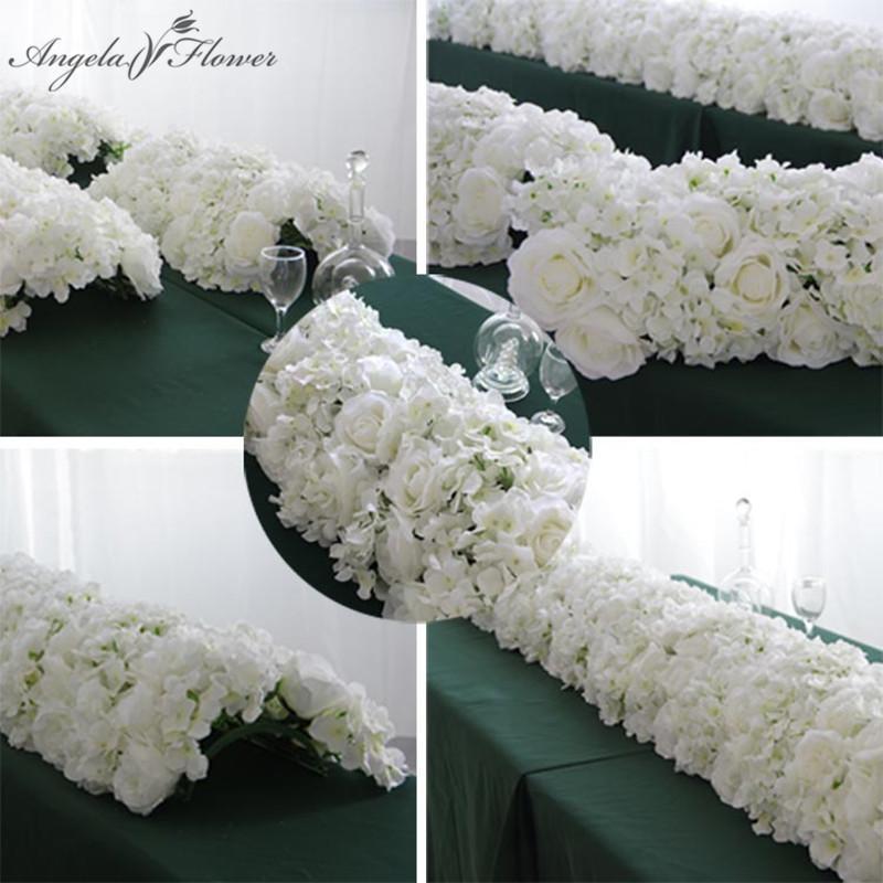 60 / 55cm 플라스틱 녹색 메쉬베이스와 함께 흰색 인공 꽃 행 웨딩 소품 장식 창 이벤트 파티 테이블 센터 피스