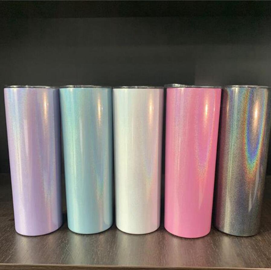 20 onces Scintillant maigre tasse double Tumbler en acier inoxydable mur Bouteille à isolation sous vide Coupe droite en verre avec couvercle DDA368