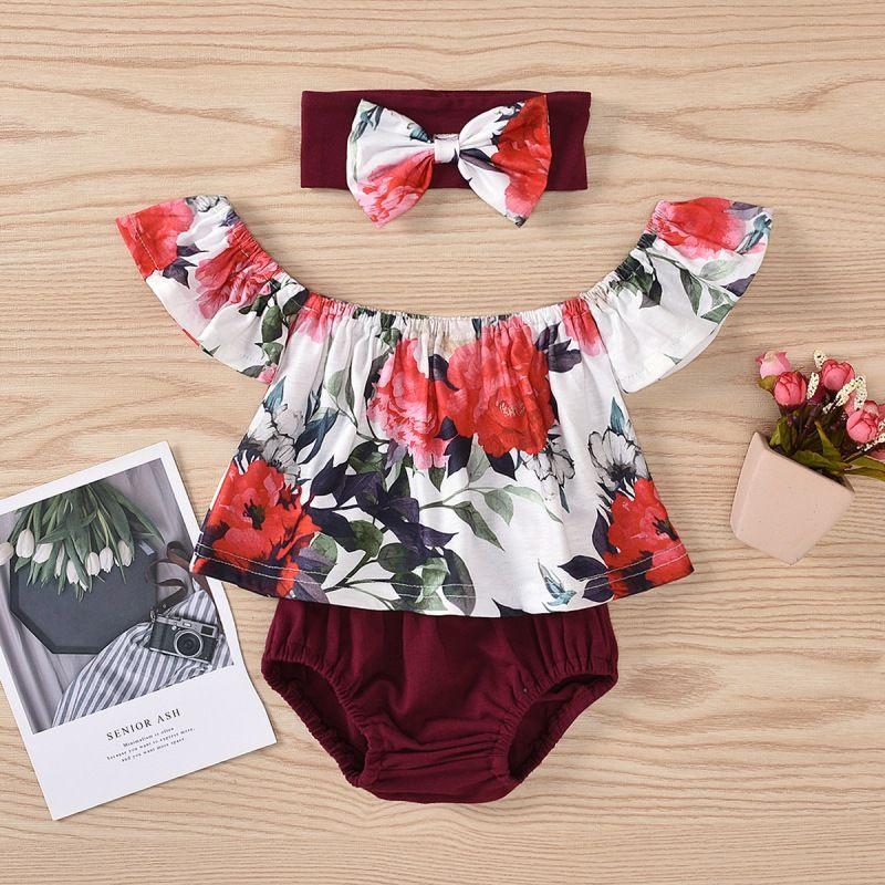 Casual Hot 3Pcs Summer Fashion Baby Girl Alças Clothes Set Rose Impressão Tops Shorts Headband Kit Kid Outfit Sets111