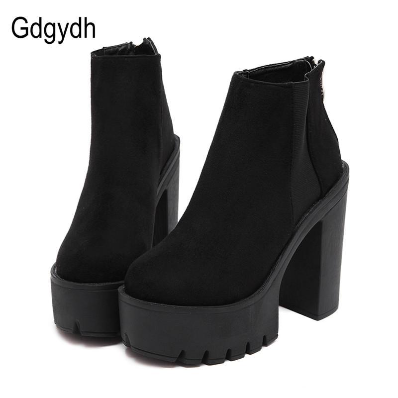 Tacones Gdgydh Moda Negro cargadores del tobillo para las mujeres gruesas del otoño del resorte de la plataforma Flock zapatos de tacones altos Negro cremallera cargadores de las señoras