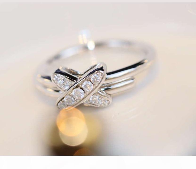S925 Sterling Silber luxuriöse Punkring mit Diamanten Charme Ring Schmuck Geschenk Weihnachtstag Drop-Shipping PS8817