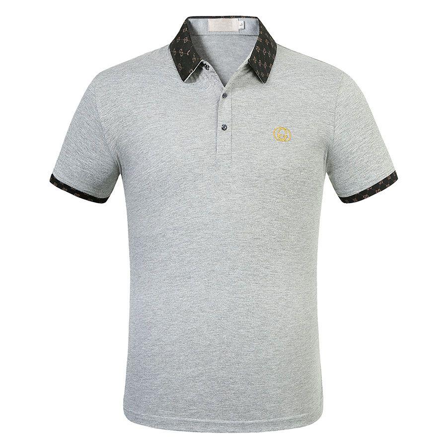 Verano inglaterra clásico manga corta bordado bordado polos hombre casual camisa polo solapa cuello algodón polo de alta calidad camisas