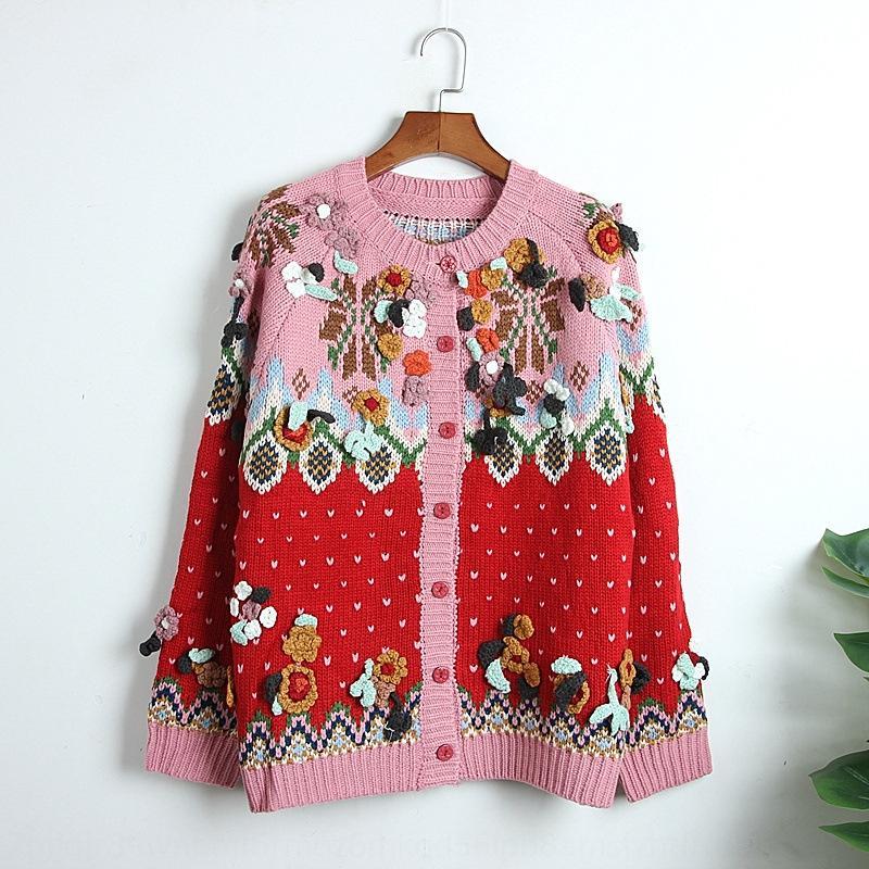 en trois dimensions pull pull manteau rouge femmes manteau anciens tissés à la main Fleur Ferris wheelstyle cardigan tricoté Noël coréenne xr8bF