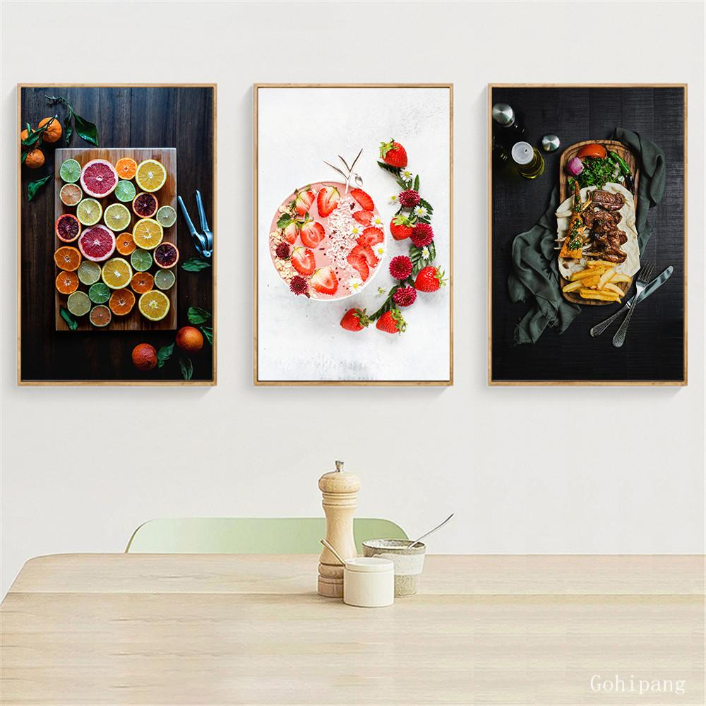 Poster alimentaire toile de peinture nordique moderne Décoration Photos de Cuisine Décor Fruit Imprimer Mur végétal Art accueil Artistes