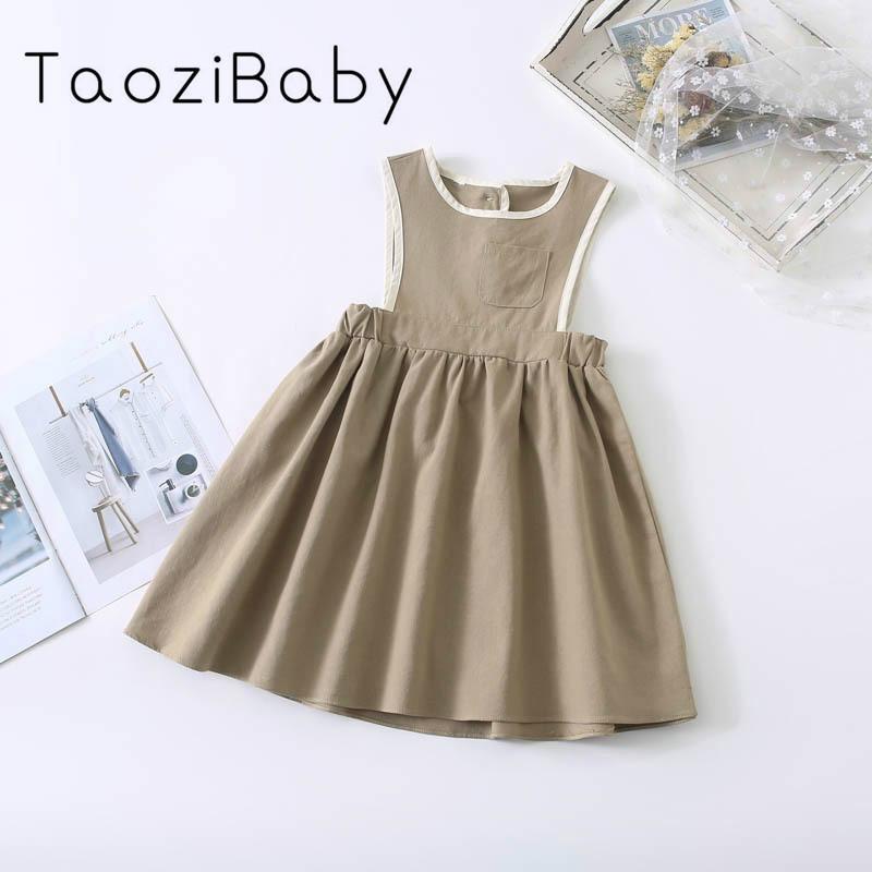 Miúdos vestidos para meninas 2020 Primavera New Korean Children Girl Dress assimétrico Contraste Colete vestido da menina vestidos sem mangas