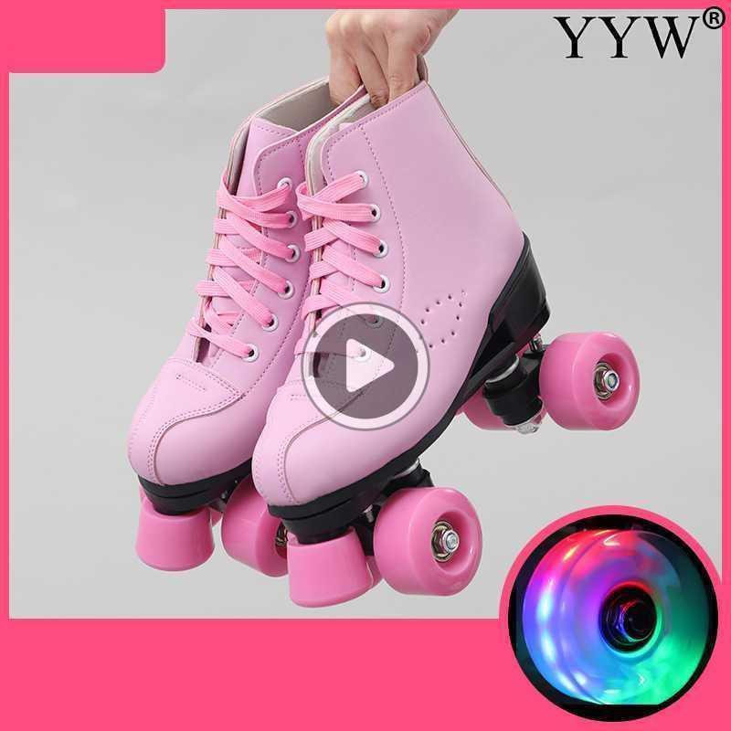 Искусственная кожа Роликовые Коньки двойная линия Коньки Женщины Мужчины Взрослый Две линии Скейт обувь Patines Черный Розовый Pu 4 Колеса Patins