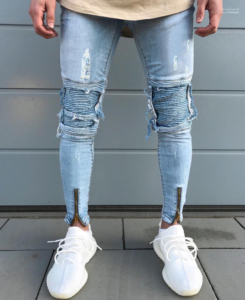 Stil Erkek Yeni Tasarımcı Delik Kot Katı Renk Düğme Moda Gündelik Giyim Yaz Hip Hop Pantolon katlayın