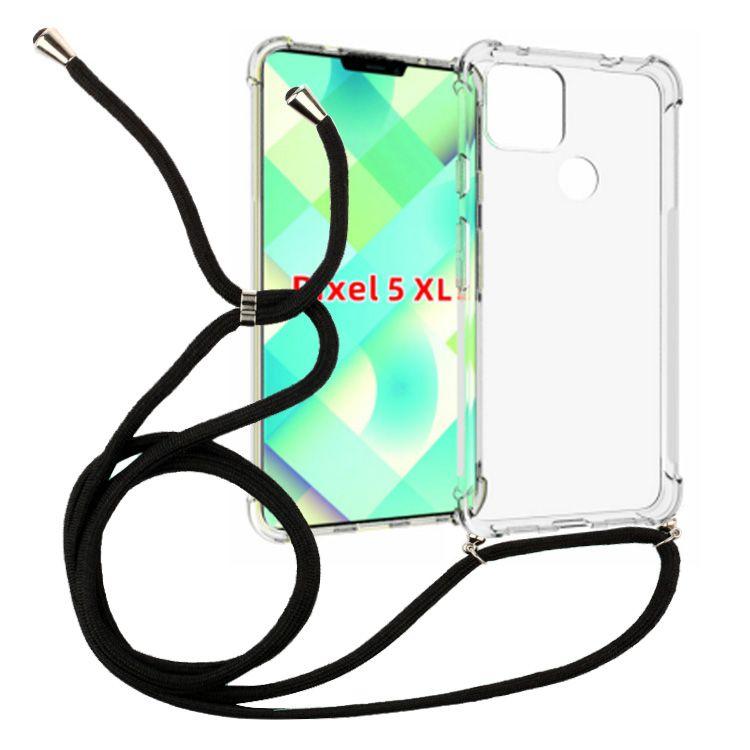 1,5 mm de espesos Transparente Collar a prueba de golpes Crossbody Lanyard 160cm Caja de la cuerda TPU para Google Pixel 5 XL Cubierta del teléfono celular