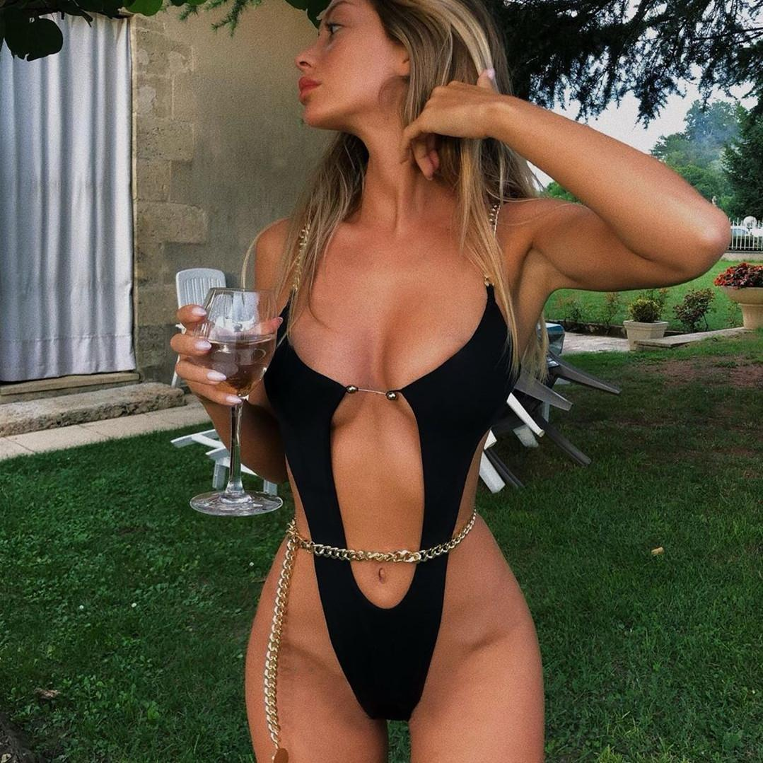 wHQj0 2020 sexy Bikini Metall Aluminium neue einteilige Bikini der Frauen Badeanzug Kette Badeanzug needlebikini