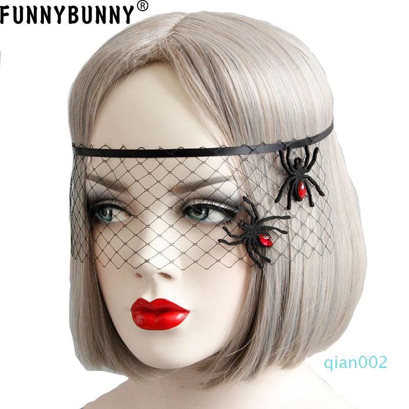 Maschera FUNNYBUNNY Mesh Spider travestimento di Halloween per le donne Halloween Masquerade Mask del partito degli accessori