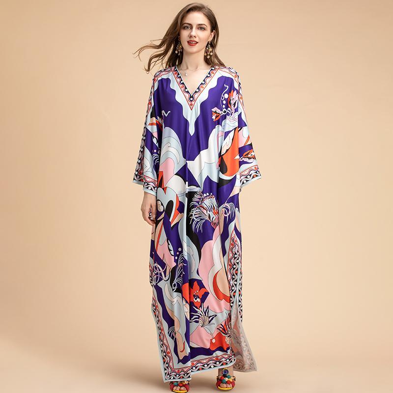 2020 Fashion Runway Robes de maxi en vrac plus Taille Femmes V eccolf à manches à manches à manches imprimées