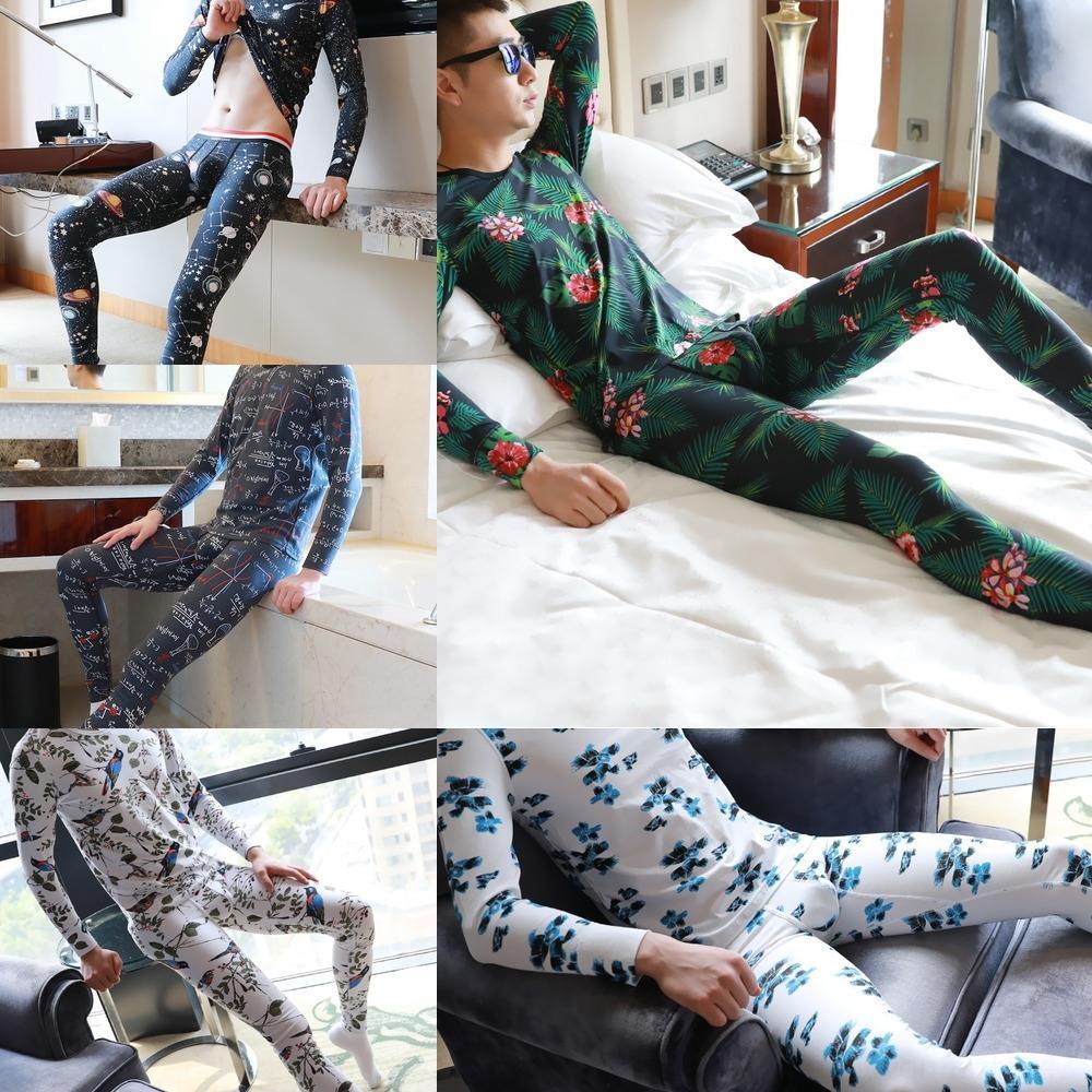 calças nEqbx HZAWR calças quentes dos homens térmicas outono adequar roupas rodada de algodão puro roupas de algodão pescoço terno e camisola roupa íntima masculina Wint