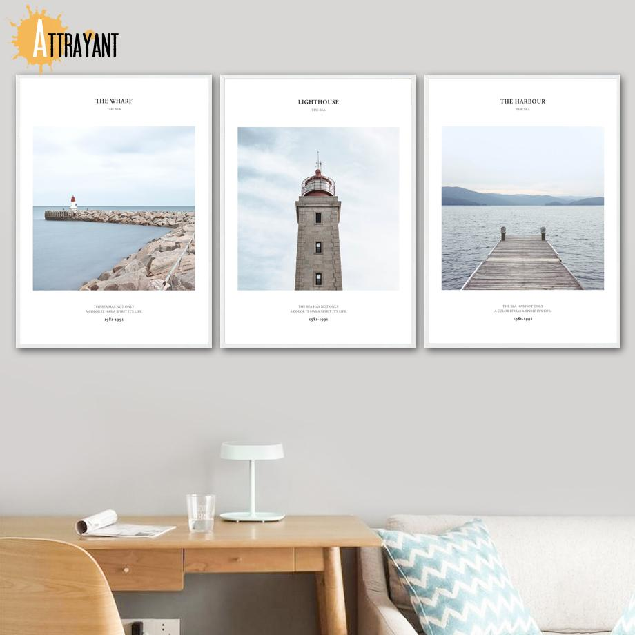 Wharf farol do porto de Sea Landscape Wall Art pintura da lona Posters nórdicos e Prints Pictures Para Living Room Decor
