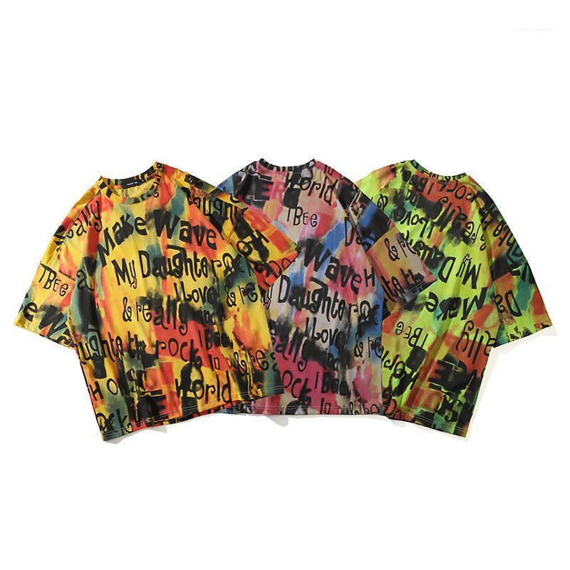 Lettre manches Imprimer Casual Male T-shirts pour hommes Hiphop Tie Dye Imprimer T-shirt Fashion Rock Style Court