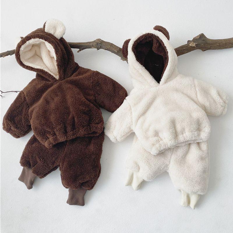 Niño bebés de los muchachos Coral espesamiento del terciopelo Ropa Caliente Traje Pullover Coat + Pant recién nacido bebés de los muchachos sistemas de la ropa 0927