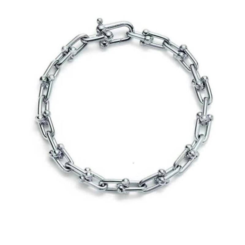 Hardware Tiffs Argento 925 classico popolare elegante bella signora T bracciale a catena gioielli amore regalo originale a forma di U