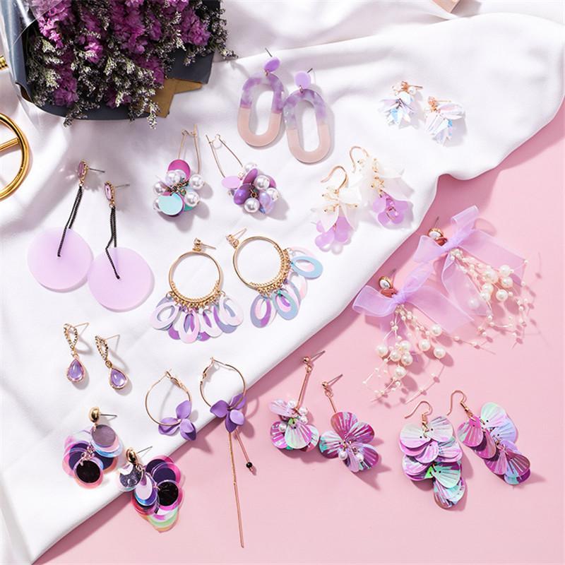Coreano Moda Flores Tassel brincos de por Mulheres Sonho feericamente bonito roxo Lantejoula Dangle Brincos Jóias
