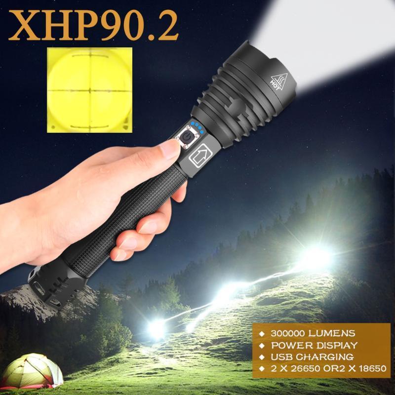 En güçlü XHP90.2 300000 lm led meşale taktik fenerleri liderliğindeki xhp70 usb şarj edilebilir flaş ışığı xhp50 çalışma lambası