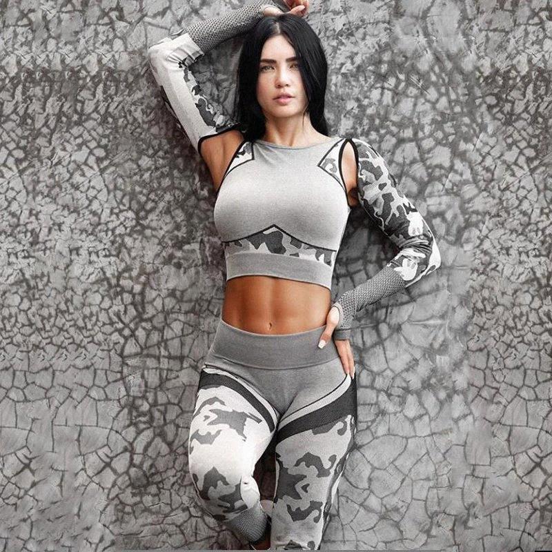Yoga aptitud del deporte transparente set traje de camuflaje ropa de gimnasia del entrenamiento de las polainas de manga larga Traje de fitness entrenamiento Leggins A6HI #
