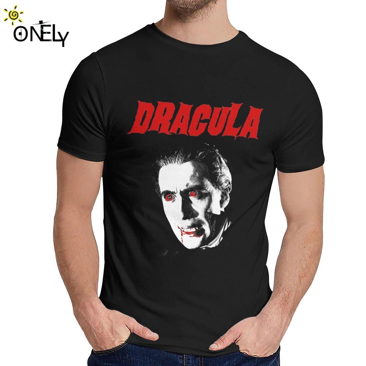 100% cotone Horror of Dracula maglietta di disegno unico giovane di stile di modo del O-collo Homme Tee Shirt Uomo