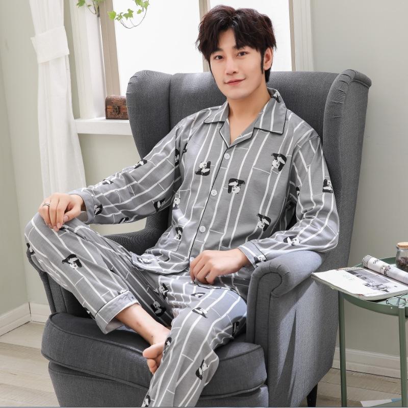 Multi-jeunes et d'âge moyen en coton à manches longues pyjamas pyjama jeunes automne printemps hommes Automne L coton Pyjama