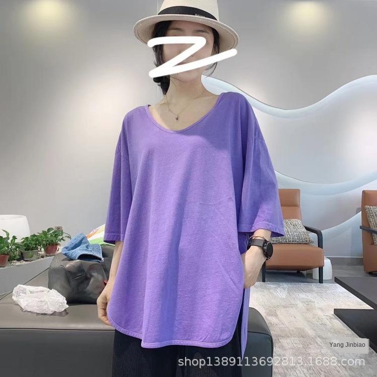 grb3h 20 летней новой корейского стиль мода патча футболка лампа простого света патч луковицы сплошного цвет свободного хлопок середина рукавов футболка для женщин Y