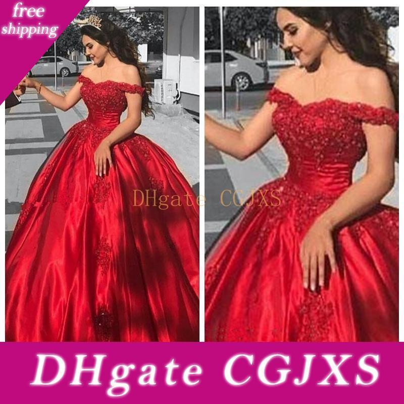 2019 abito nuovo Red Ball elegante Off -spalla Prom Vestiti Lunghi Applique Beads Puffy partito degli abiti di sera Plus Size vestiti su ordine