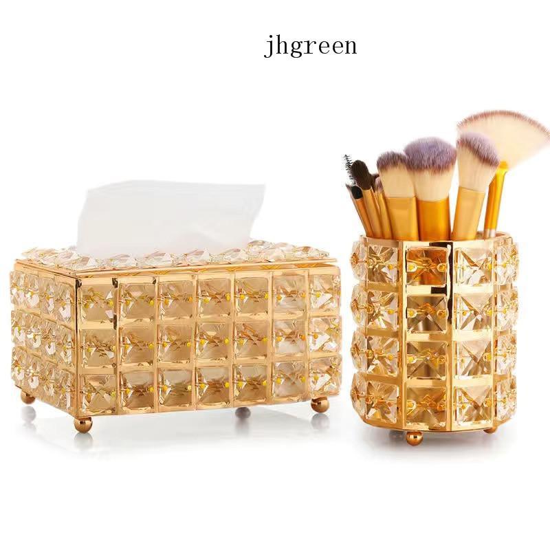 Universal Crystal Clear European Style Acrylic Tissue Box Fashion Remote Controller Storage Box Stationery Organizer Makeup Round Organizers