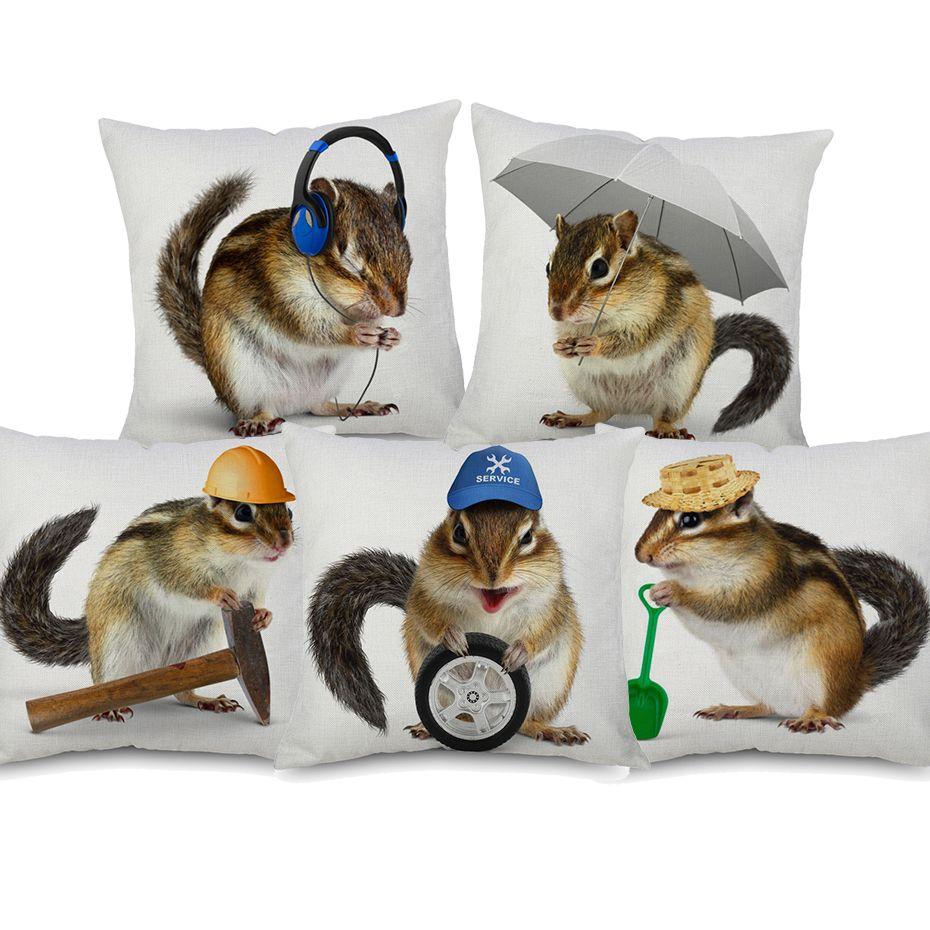 Chipmunk divertido fundas de colchón encantador lindo Animales Arte ardillas de Trabajo fundas de cojines decorativos sábanas de algodón caja de la almohadilla para el coche Sofá Sofá