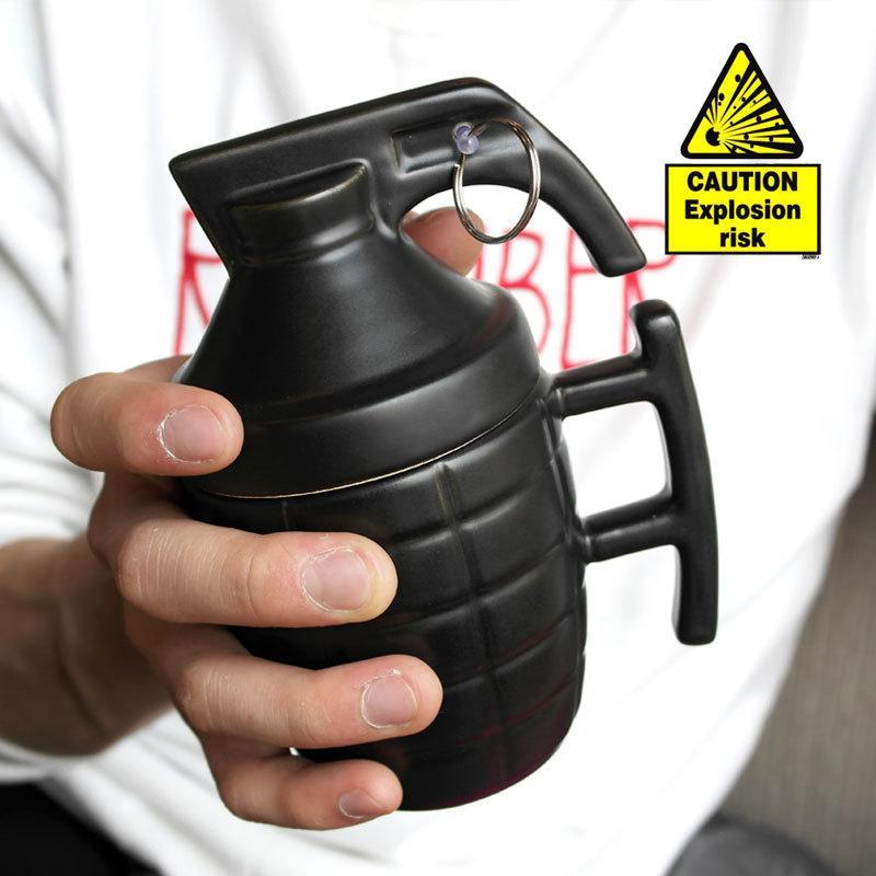Criativa Grenade canecas copo de água prática com tampa presentes engraçados Granada creativa taza de café de qualidade super T200506