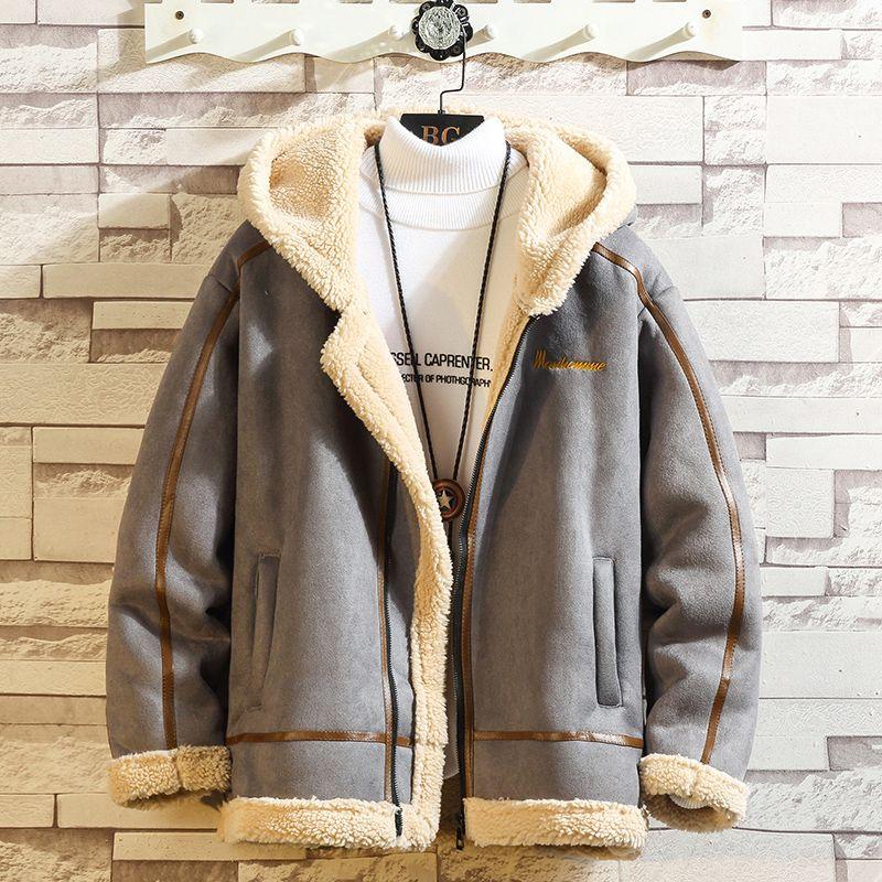 المهاجم سترة الرجال في فصل الشتاء سميكة الدافئة الصوف تيدي معطف للرجال ملابس رياضية رياضية ذكر منفوش الصوف هوديس معطف