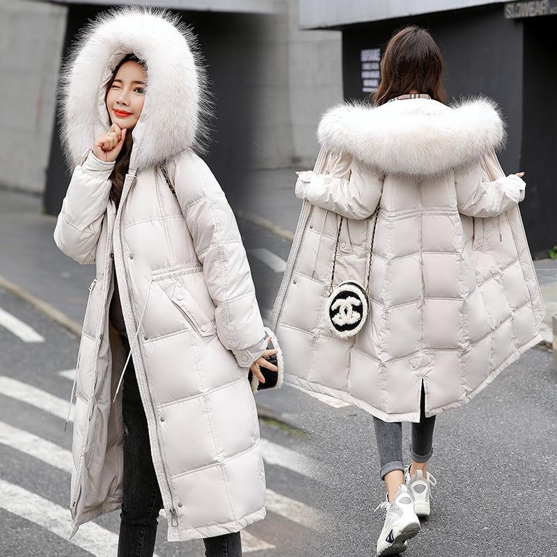nU0QD сезона Женские средней длины над колену талии похудение 2020 пуховик пальто пуховик зимняя одежда большой меховой воротник пальто