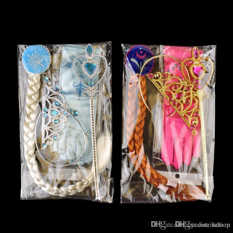 Crown Princess bacchetta magica Guanti I monili parrucca di Halloween Cosplay Bambini Bambini Ice ragazze Cosplay 2 colori