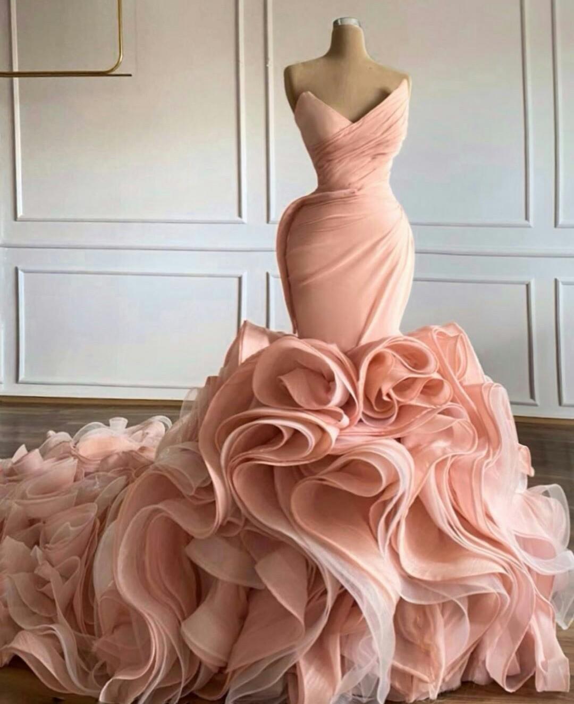 Allık Pembe Deniz Kızı Gelinlik 2021 Sweetheart V Yaka Katmanlı Etek Ruffles Prenses Trompet vestidos de Novia Gelinlikler