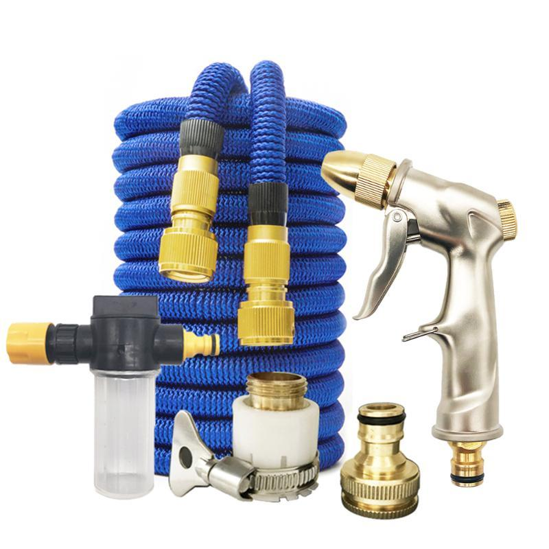 Garden Hose Pipe Spray Gun Magic Hose Pipe Expandable Water 25FT-100FT With Water Gun Pressure Washer Car Wahser
