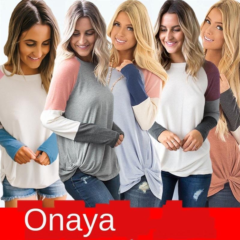 5 colores Top Coat 2020 primavera y el otoño costura alrededor del cuello de la impresión camiseta de la tapa de las mujeres de la manga larga 0985 p0xC6
