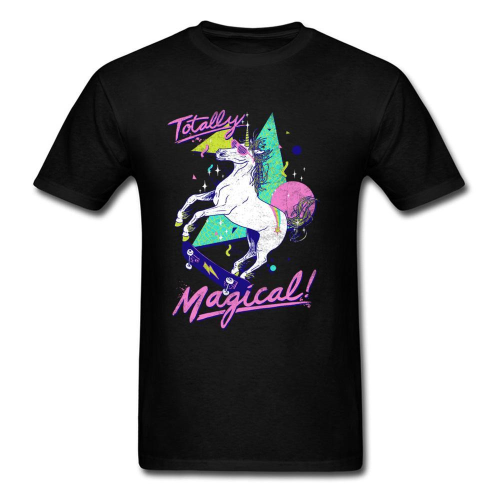 Potro del arco iris Camisa linda Graphic Tees para hombre Hellboy Manga Sobrenatural cuello redondo totalmente mágico cómico T de jóvenes Camisa Negro