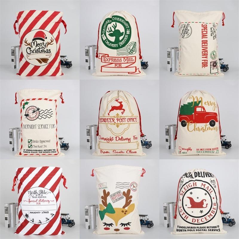 Sled Élans Sac en toile Père Noël Sac à cordonnet Joyeux Décorations de Noël Ornement 2020 lourd Pochette cadeau bonbons 50 * 70cm 10 9bya C2