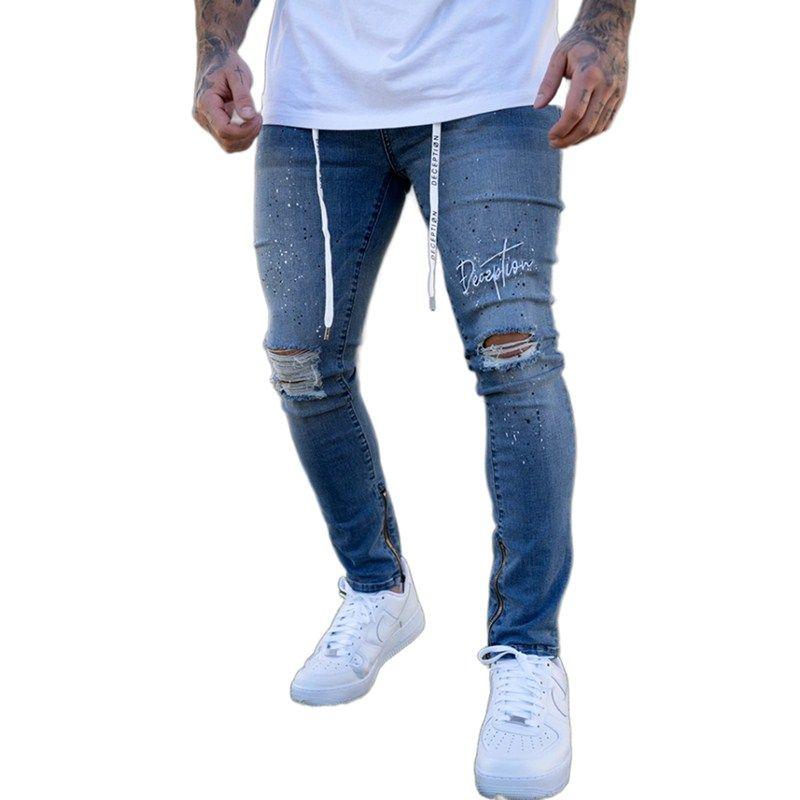 Pantalones vaqueros para hombres letras bordadas stretch ripped biker hombres Hip Hop Slim Fit Holes Punk Denim Pantalones de algodón con cremallera