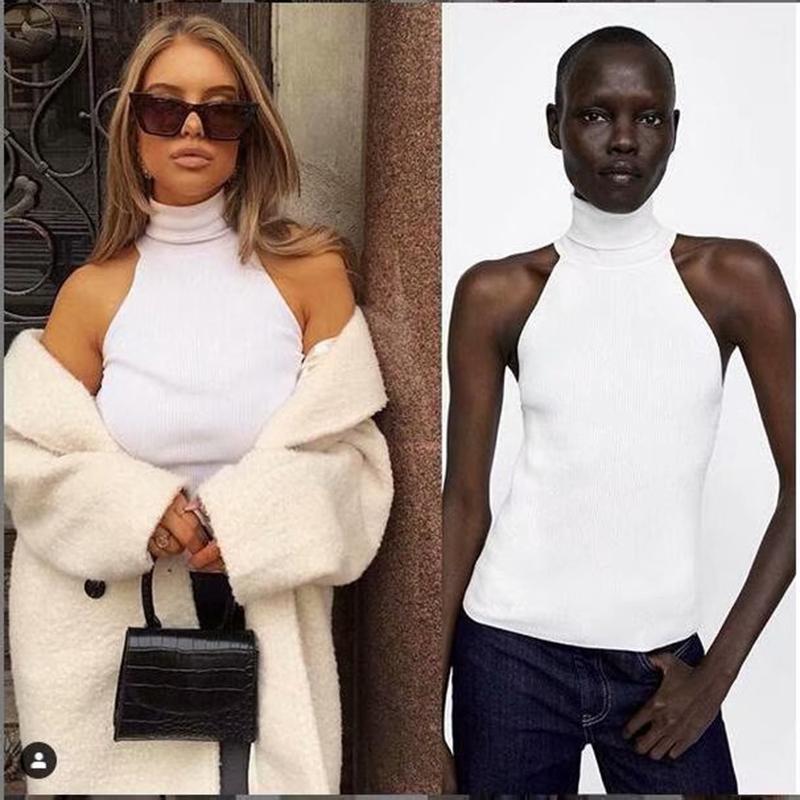 Femmes Slim tricot à col roulé de base Débardeurs Femme Tricoté camisoles manches solide blanc Pull overs CX200814