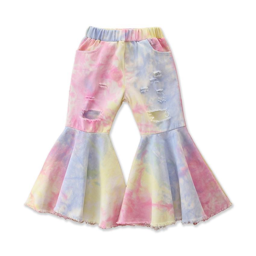 الدينيم طفل أزياء فتاة التعادل صبغ بنطلون جرس أسفل عيد الميلاد كيد ليوبارد هول الكشكشة أطفال اللباس الداخلي سروال الساقين القماش 6T